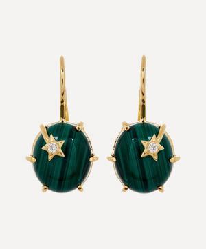 Gold Mini Galaxy Malachite and Diamond Star Drop Earrings