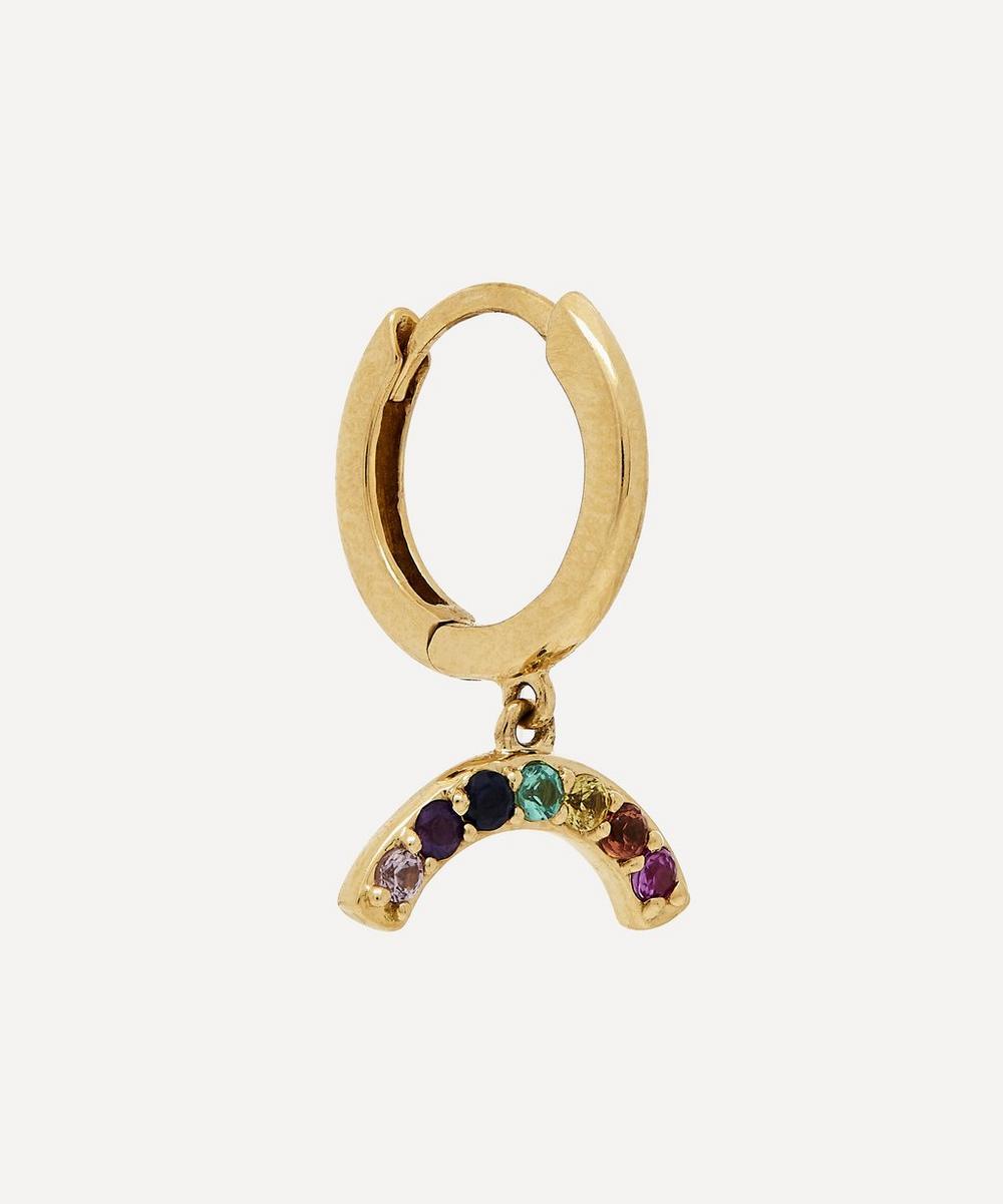 Andrea Fohrman - Gold Rainbow Gemstone Hoop Earring