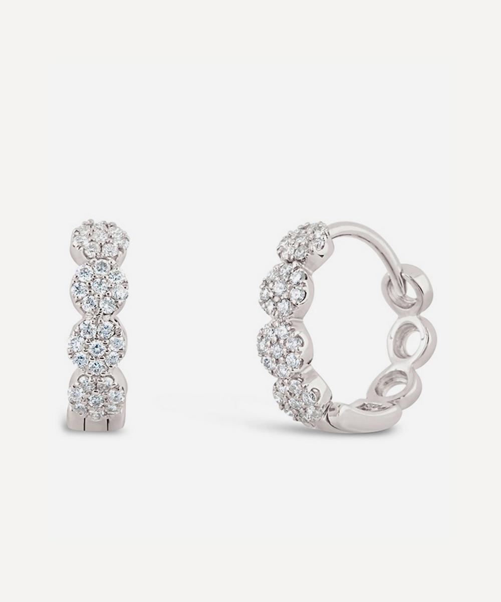 Dinny Hall - White Gold Shuga Pavé Diamond Huggie Hoop Earrings