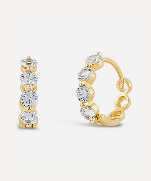 Gold Shuga White Sapphire Huggie Hoop Earrings