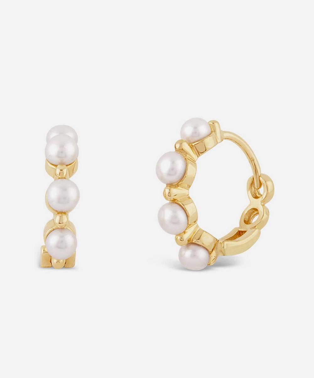 Dinny Hall - Gold Shuga Pearl Huggie Hoop Earrings
