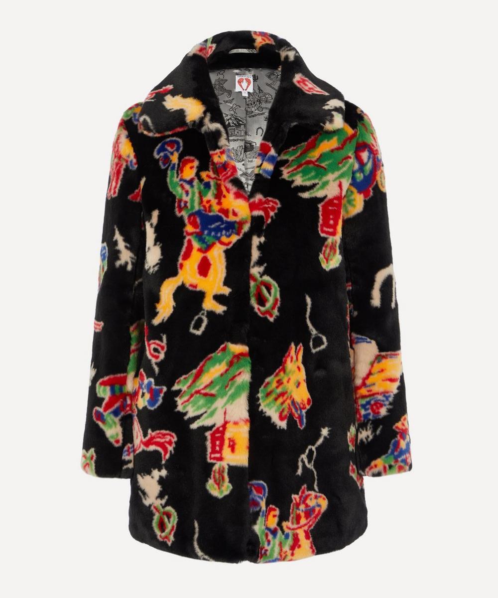 Shrimps - Lassie Rodeo-Print Faux-Fur Coat