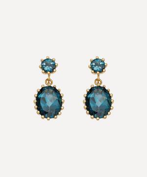 Gold Plated Vermeil Silver Linia London Blue Topaz Drop Earrings