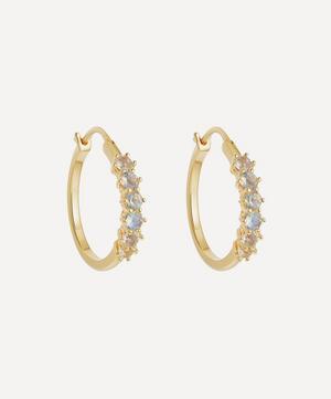 Gold Plated Vermeil Silver Linia Rainbow Moonstone Hoop Earrings