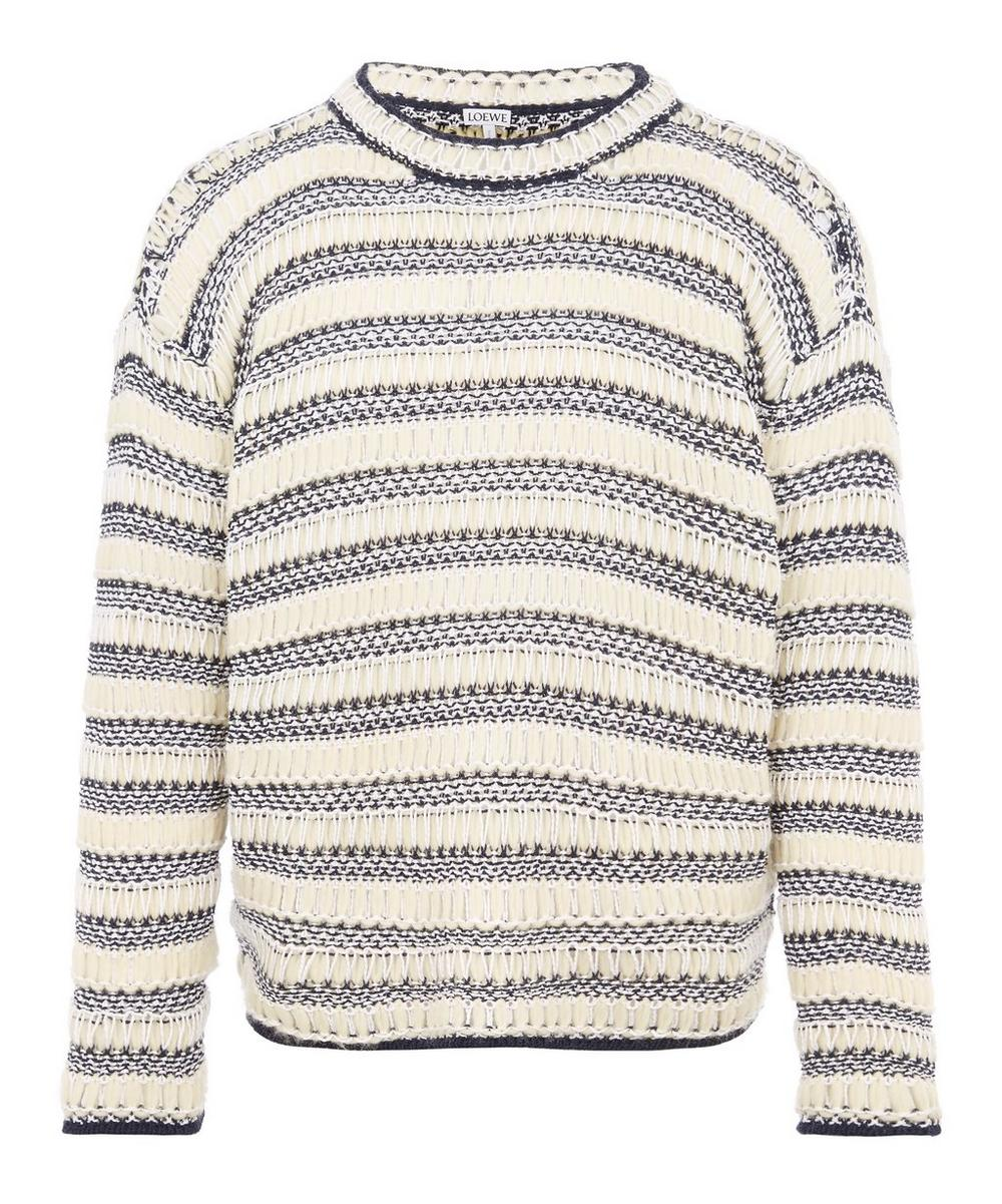 Loewe - Striped Mesh-Knit Wool-Blend Sweater