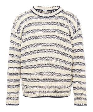 Striped Mesh-Knit Wool-Blend Sweater