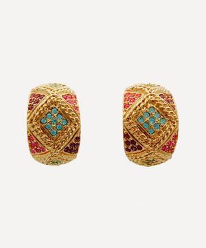 Gold-Plated 1980s D'Orlan Multi-Stone Demi-Hoop Earrings