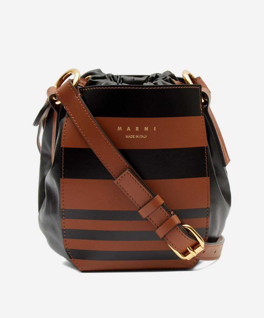 Marni - Gusset Striped Leather Shoulder Bag