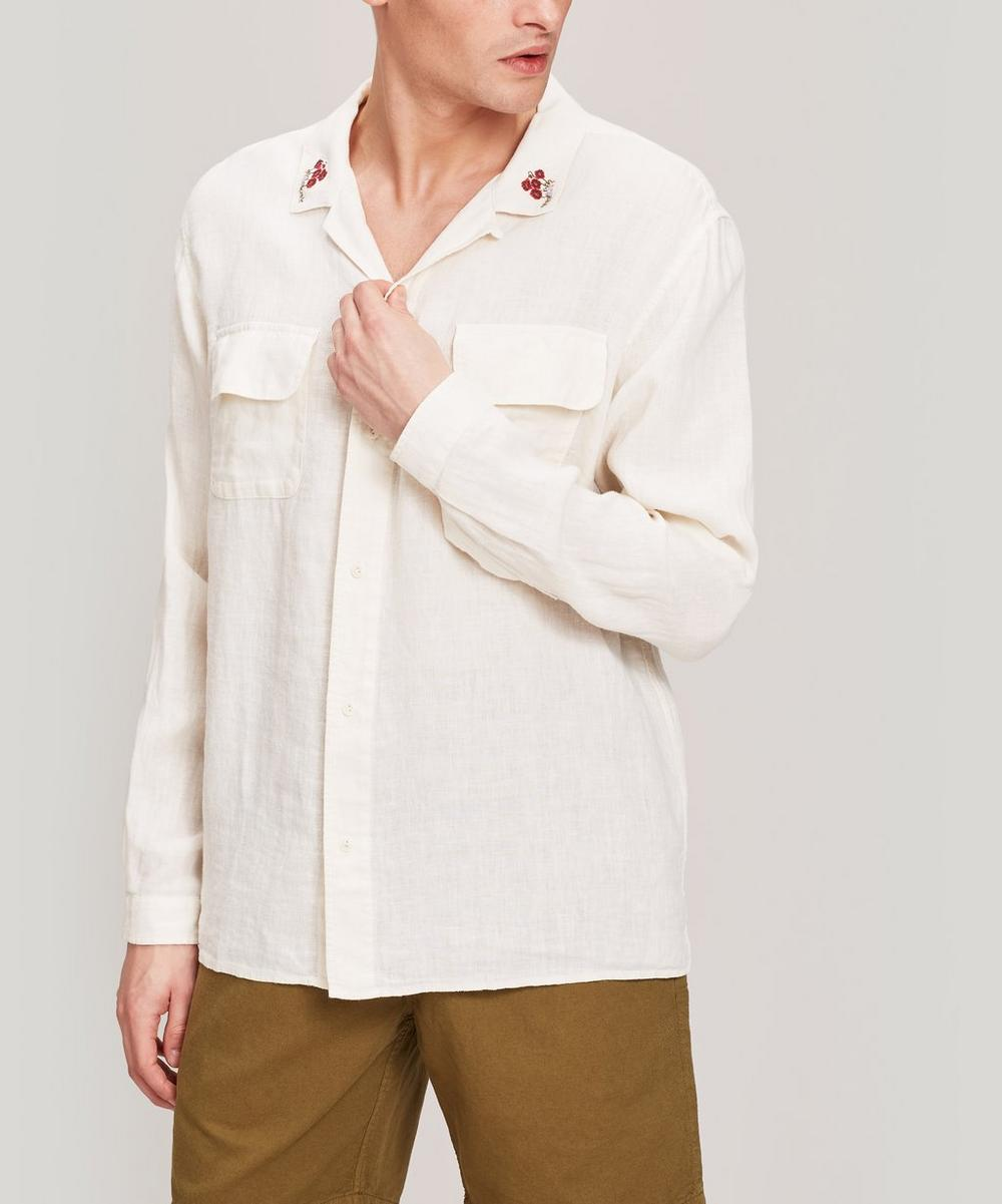 YMC - Embroidered Linen Feathers Shirt