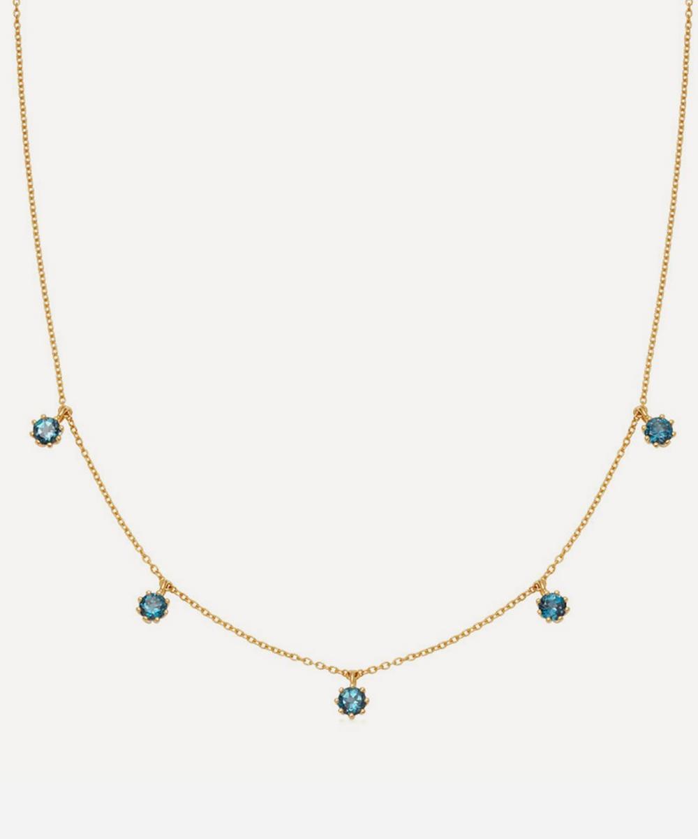 Astley Clarke - Gold Plated Vermeil Silver Linia London Blue Topaz Choker Necklace
