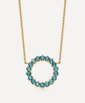 Gold Plated Vermeil Silver Linia London Blue Topaz Pendant Necklace