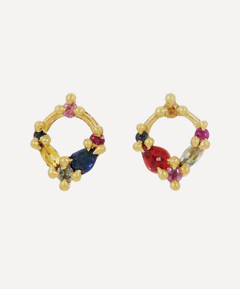 Polly Wales - Gold Des Gouttes De Rosée Rainbow Sapphire Stud Earrings