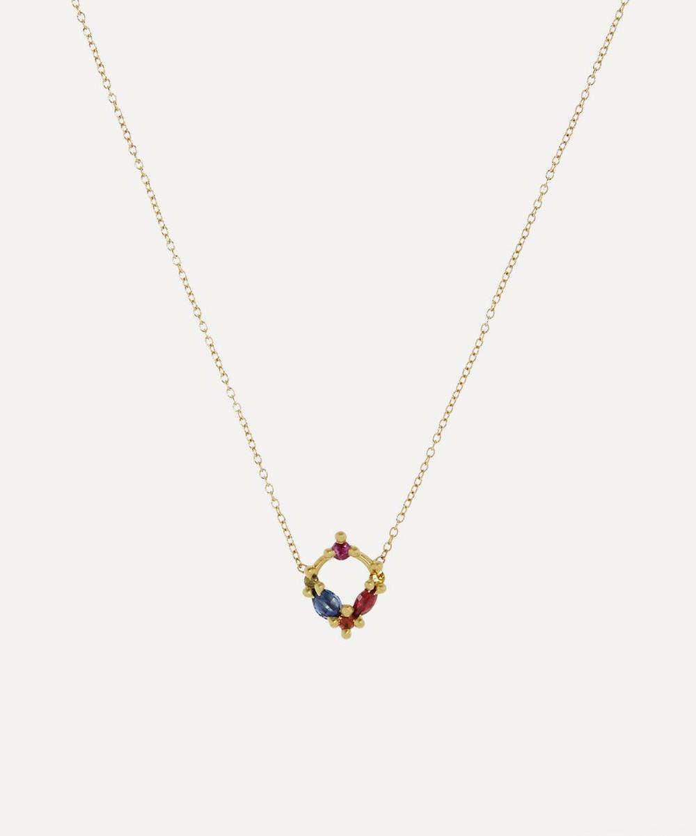 Polly Wales - Gold Des Gouttes De Rosée Rainbow Sapphire Pendant Necklace
