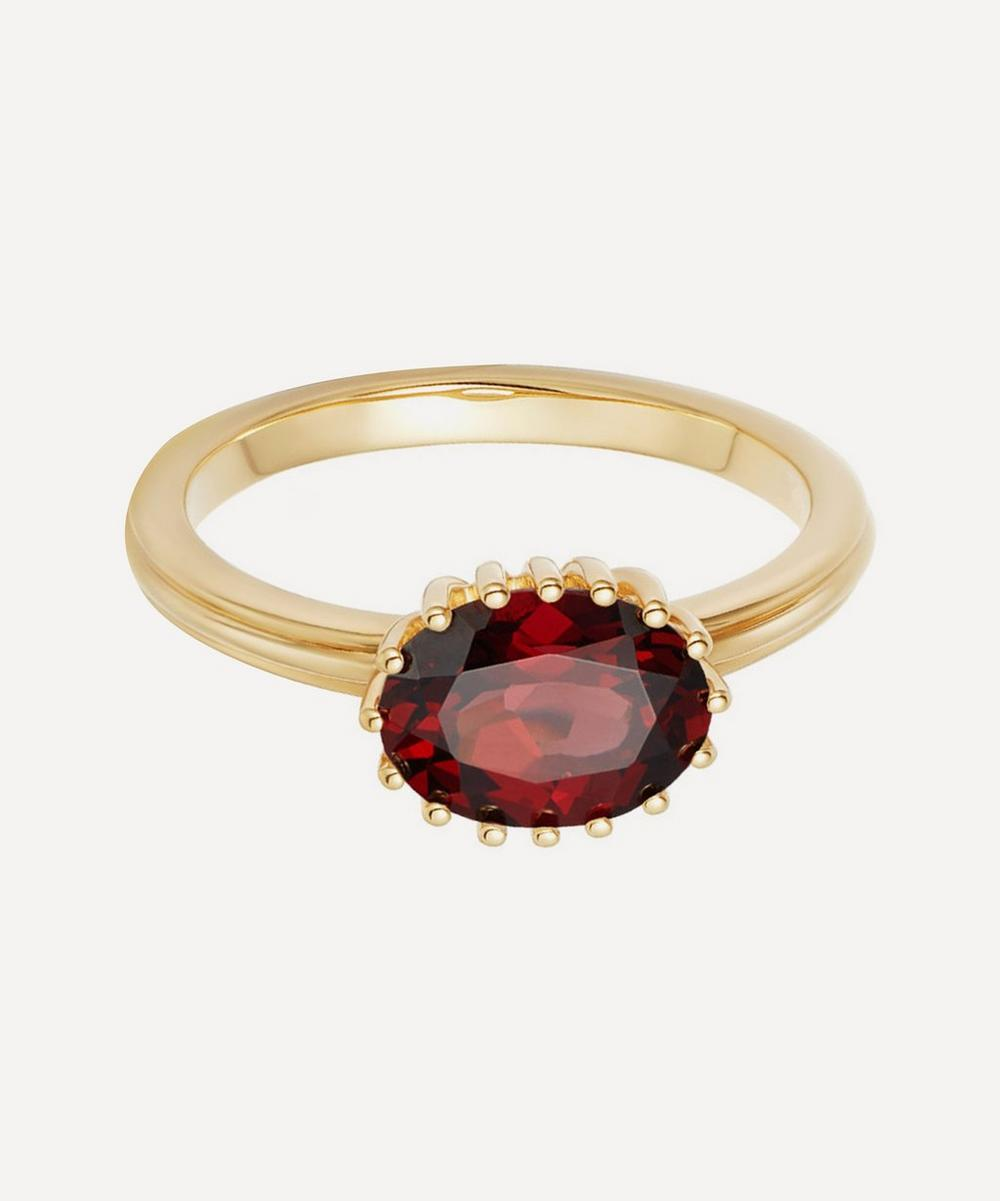 Astley Clarke - Gold Plated Vermeil Silver Large Linia Rhodolite Ring