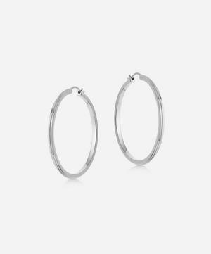 Silver Large Linia Hoop Earrings