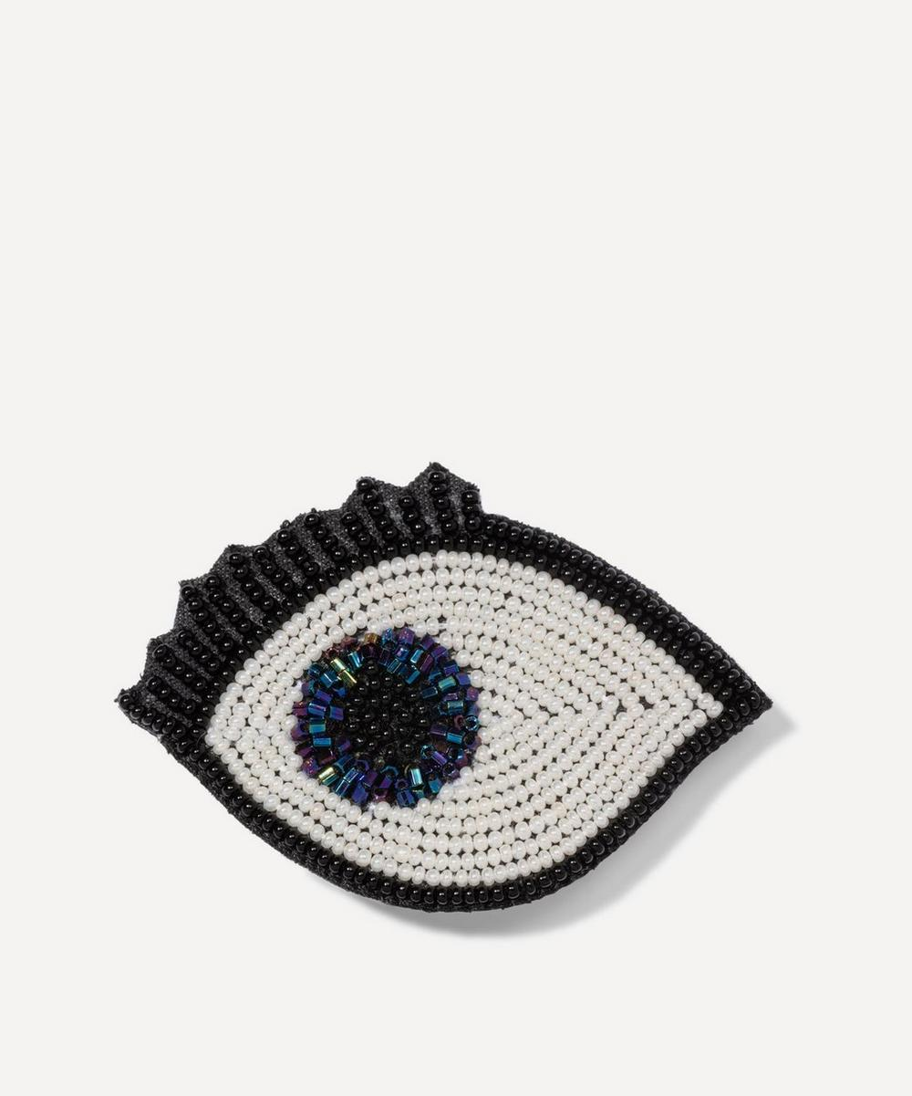Narratives - Embroidered Beaded Blue Eye Brooch