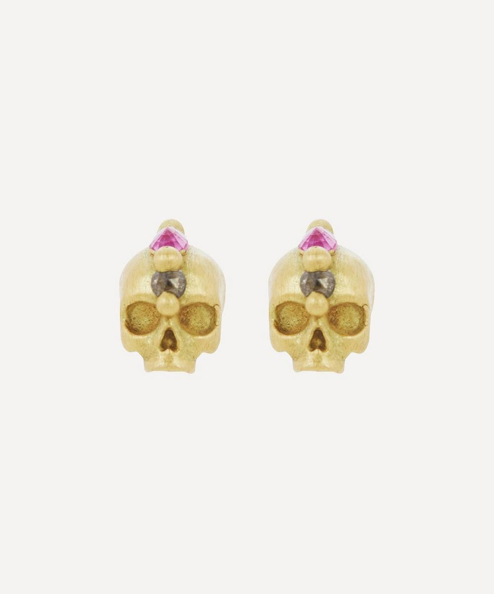 Polly Wales - Gold Island of Idols Skull Earrings