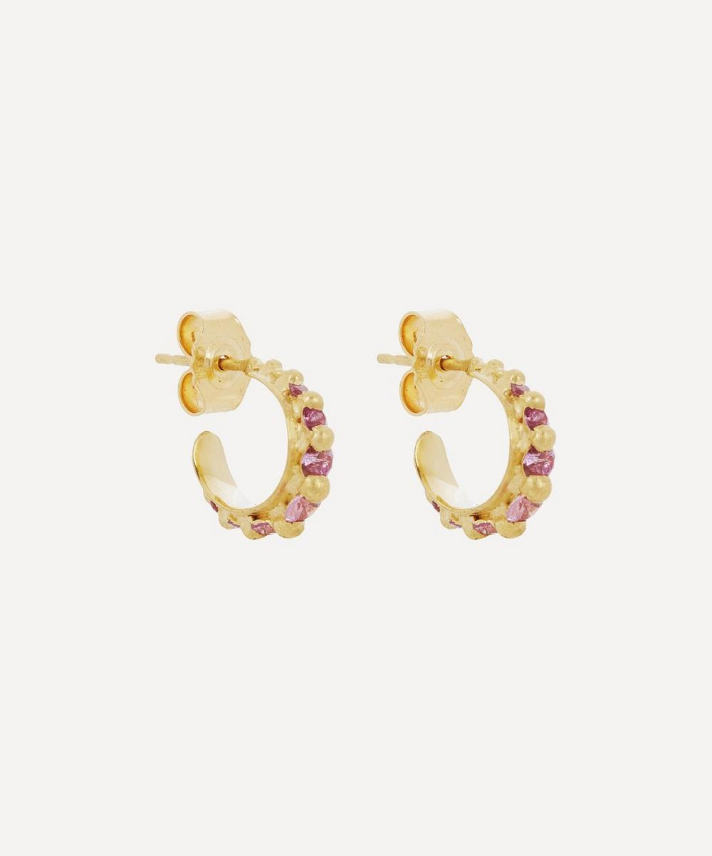 Polly Wales - Gold Nova Pink Sapphire Cuff Earrings