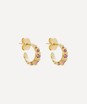 Gold Nova Pink Sapphire Cuff Earrings