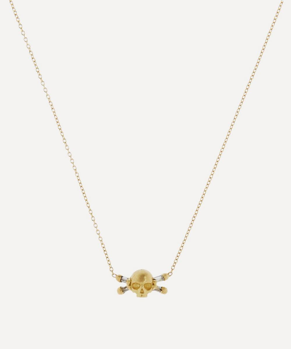 Polly Wales - Gold Island of Shrines Diamond Skull Pendant Necklace