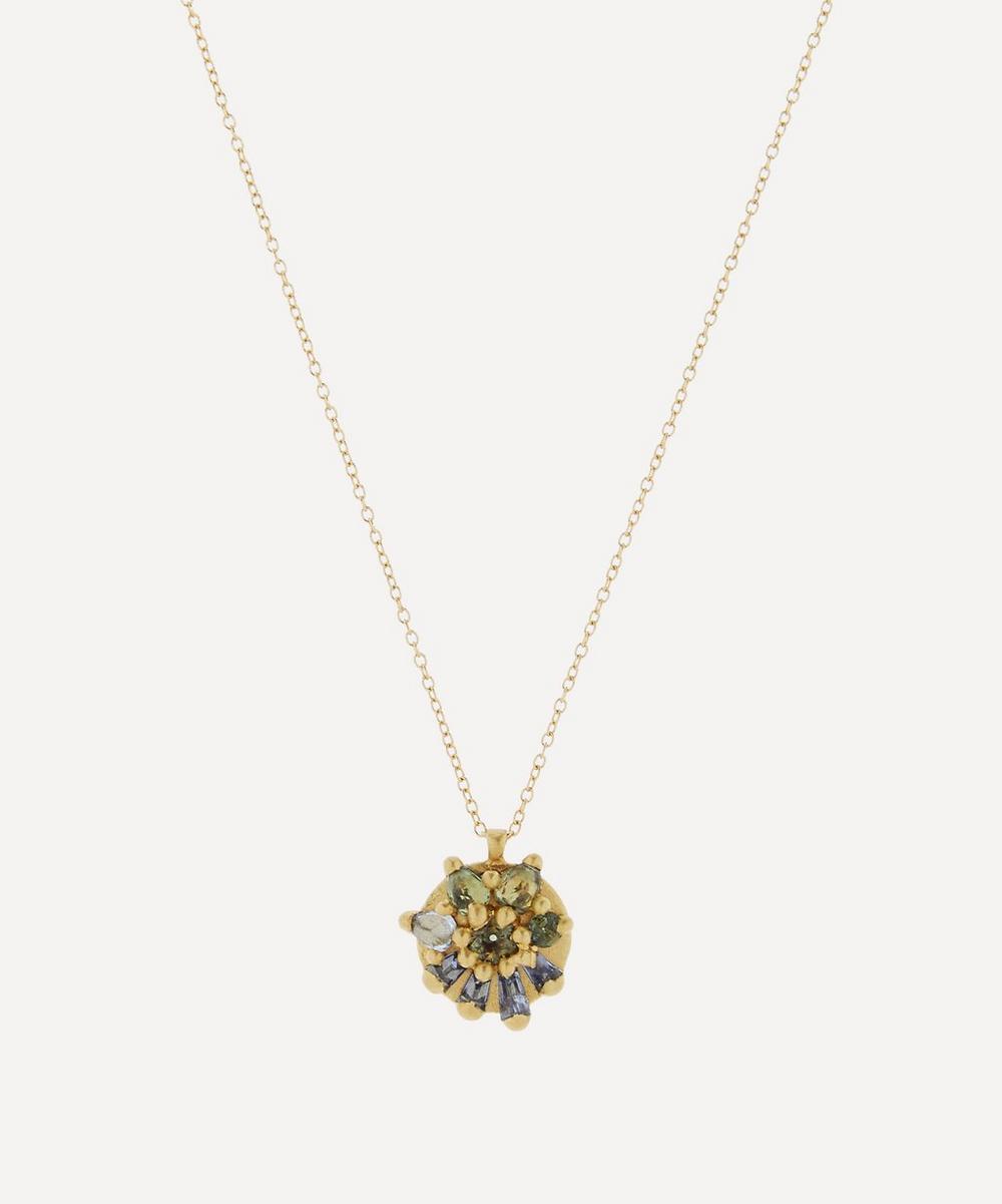 Polly Wales - Gold Lyra Ocean Fade Sapphire Pendant Necklace