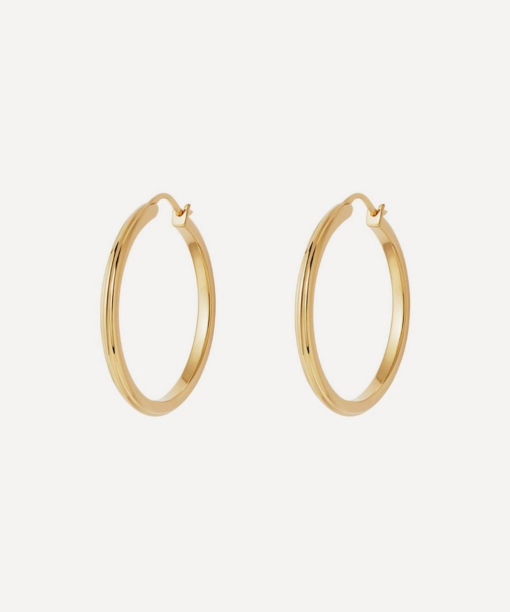 Astley Clarke - Gold Plated Vermeil Silver Medium Linia Hoop Earrings