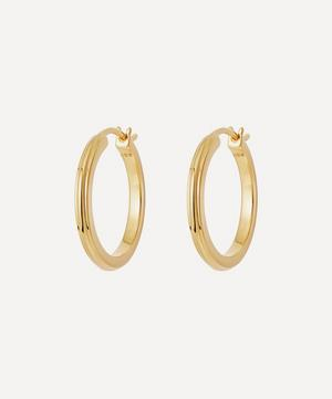 Gold Plated Vermeil Silver Small Linia Hoop Earrings