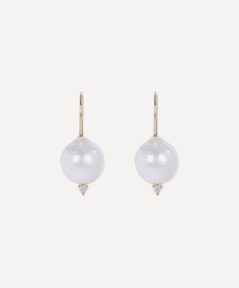 Mizuki - Gold Small Pearl and Diamond Drop Earrings