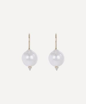 Gold Small Pearl and Diamond Drop Earrings