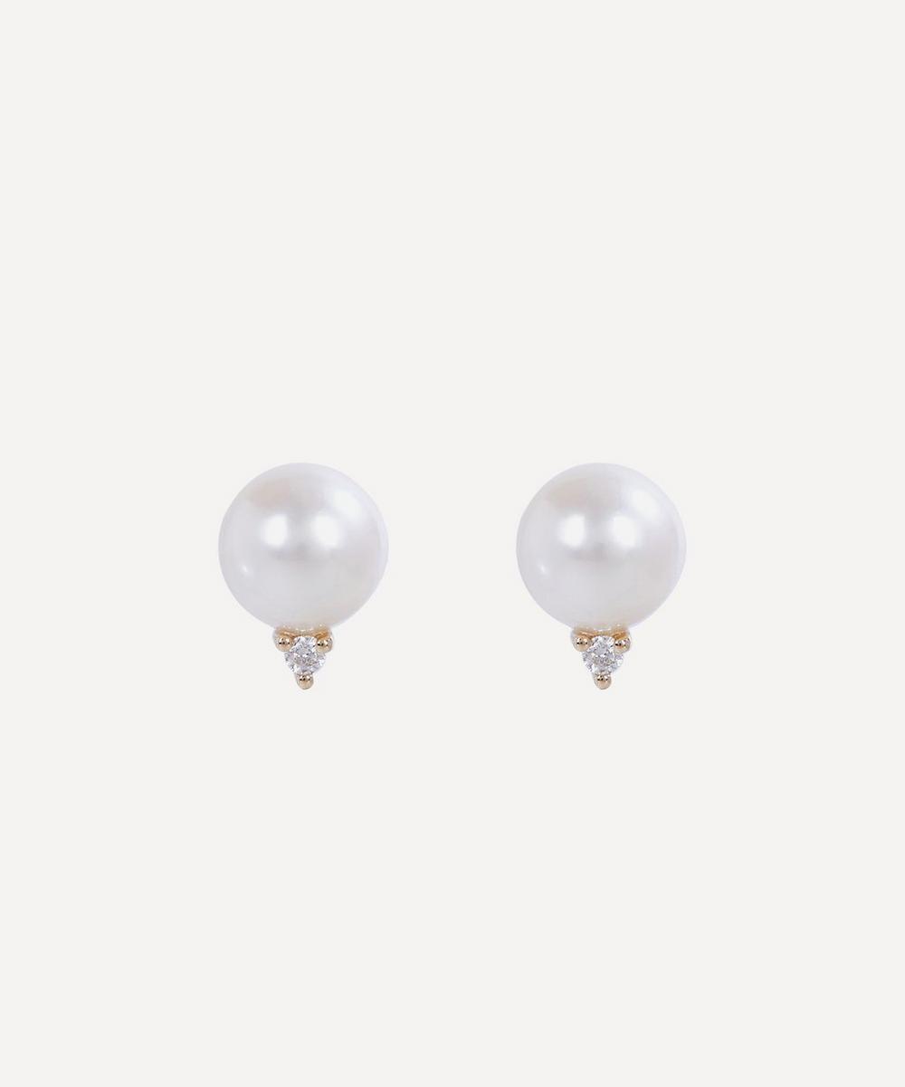 Mizuki - Gold Medium Pearl and Diamond Stud Earrings