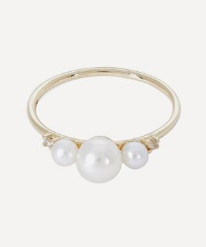Gold Triple Pearl and Diamond Ring