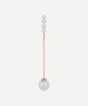 Gold Pearl Bar Single Drop Earring