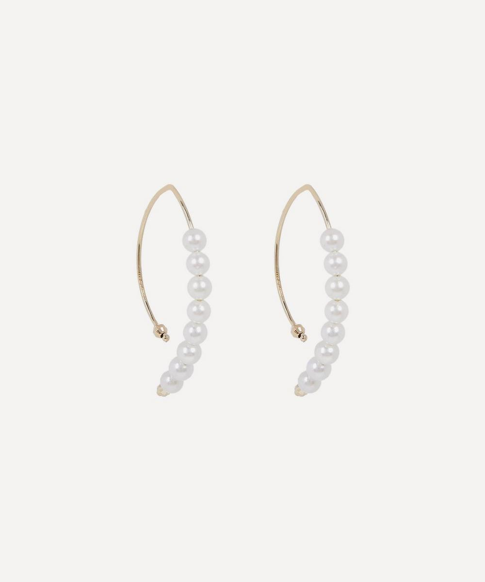 Mizuki - Gold Small Marquise Pearl Hoop Earrings
