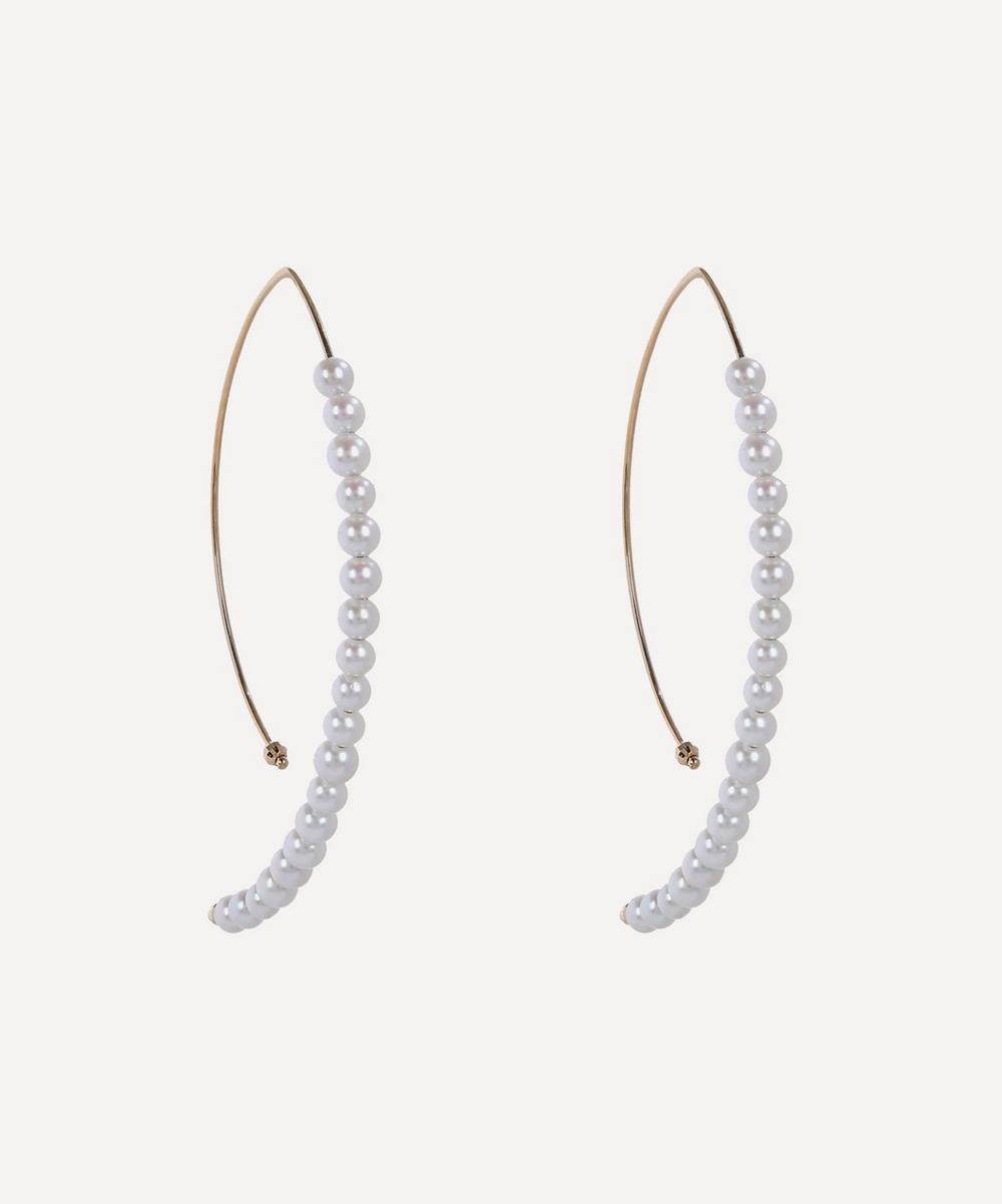 Mizuki - Gold Large Marquise Pearl Hoop Earrings