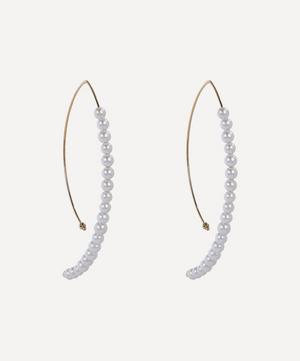 Gold Large Marquise Pearl Hoop Earrings