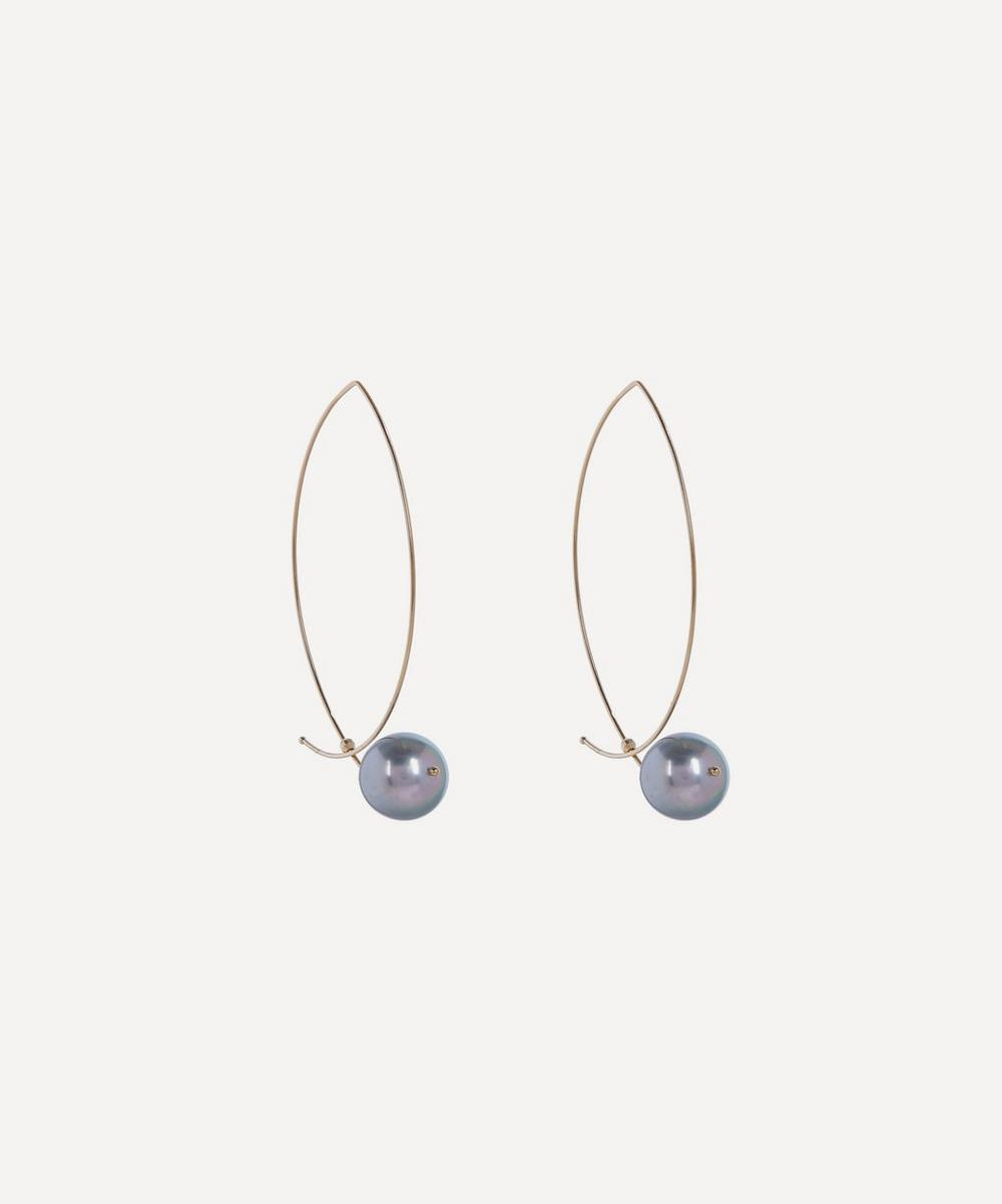 Mizuki - Gold Marquise Tahitian Pearl Hoop Earrings