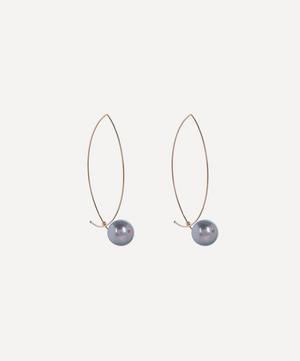 Gold Marquise Tahitian Pearl Hoop Earrings