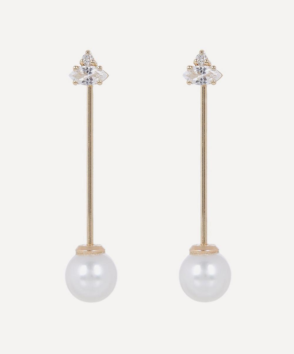 Mizuki - Gold Pearl Bar Drop Earrings