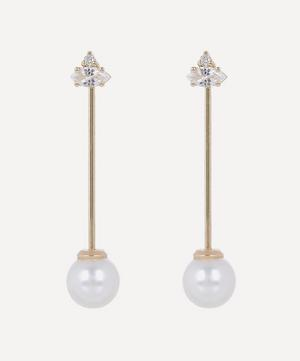 Gold Pearl Bar Drop Earrings