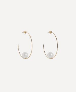 Gold Floating Pearl Hoop Earrings