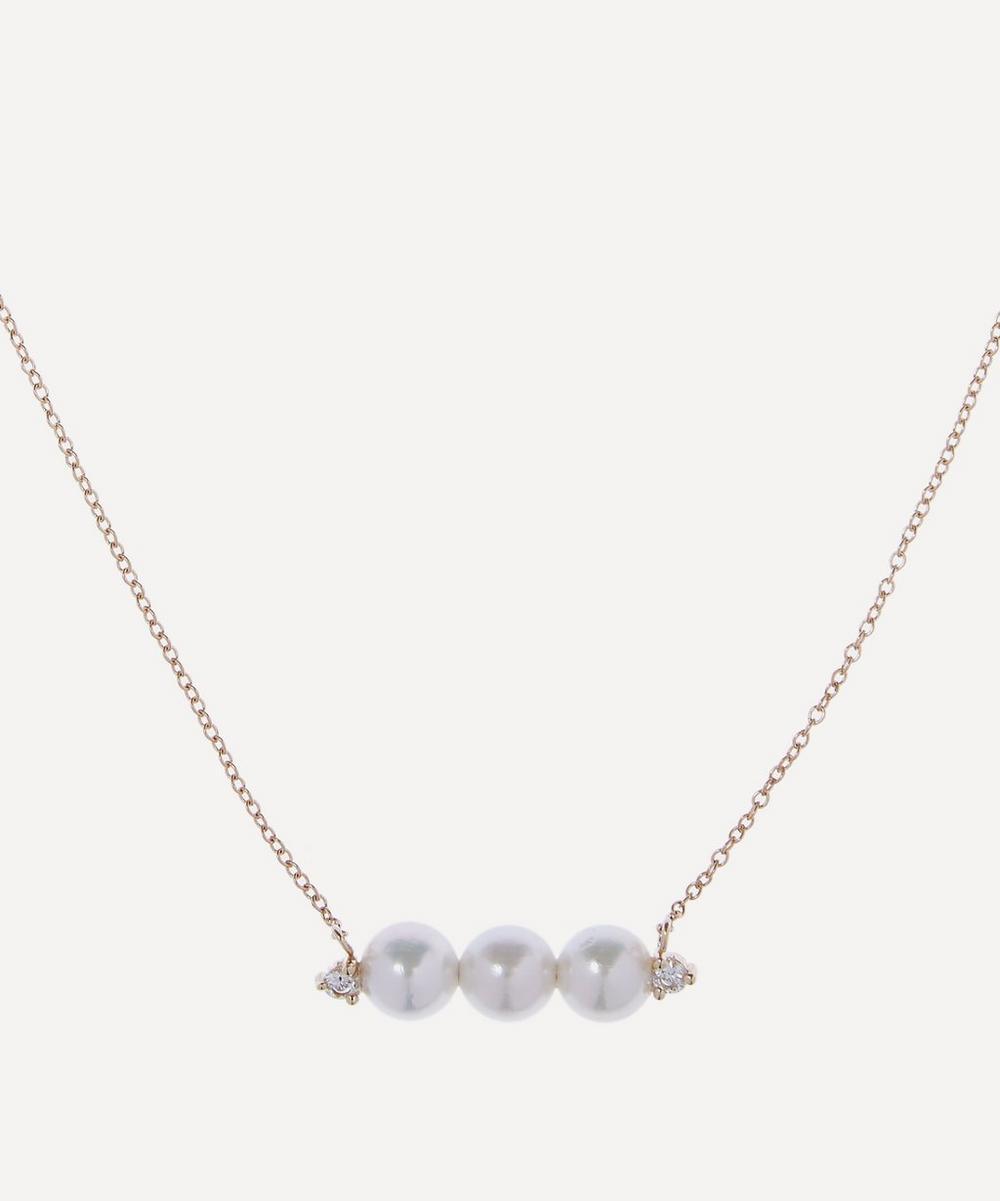 Mizuki - Gold Pearl and Diamond Bar Necklace