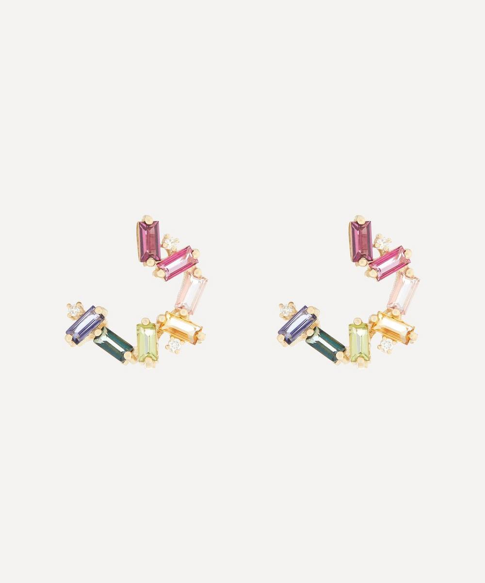 Suzanne Kalan - Gold Multi-Stone Small Rainbow Baguette Spiral Hoop Earrings
