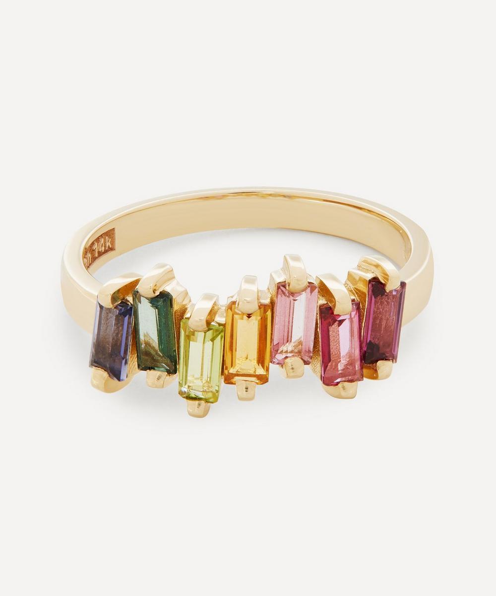 Suzanne Kalan - Gold Multi-Stone Uneven Rainbow Baguette Ring
