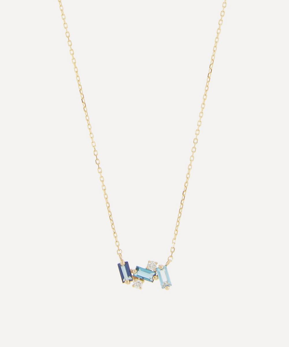 Suzanne Kalan - Gold Blue Topaz Baguette Pendant Necklace
