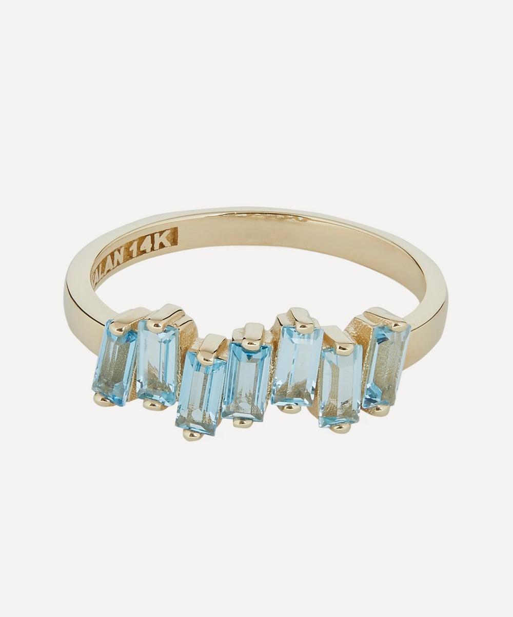 Suzanne Kalan - Gold Swiss Blue Topaz Uneven Baguette Ring