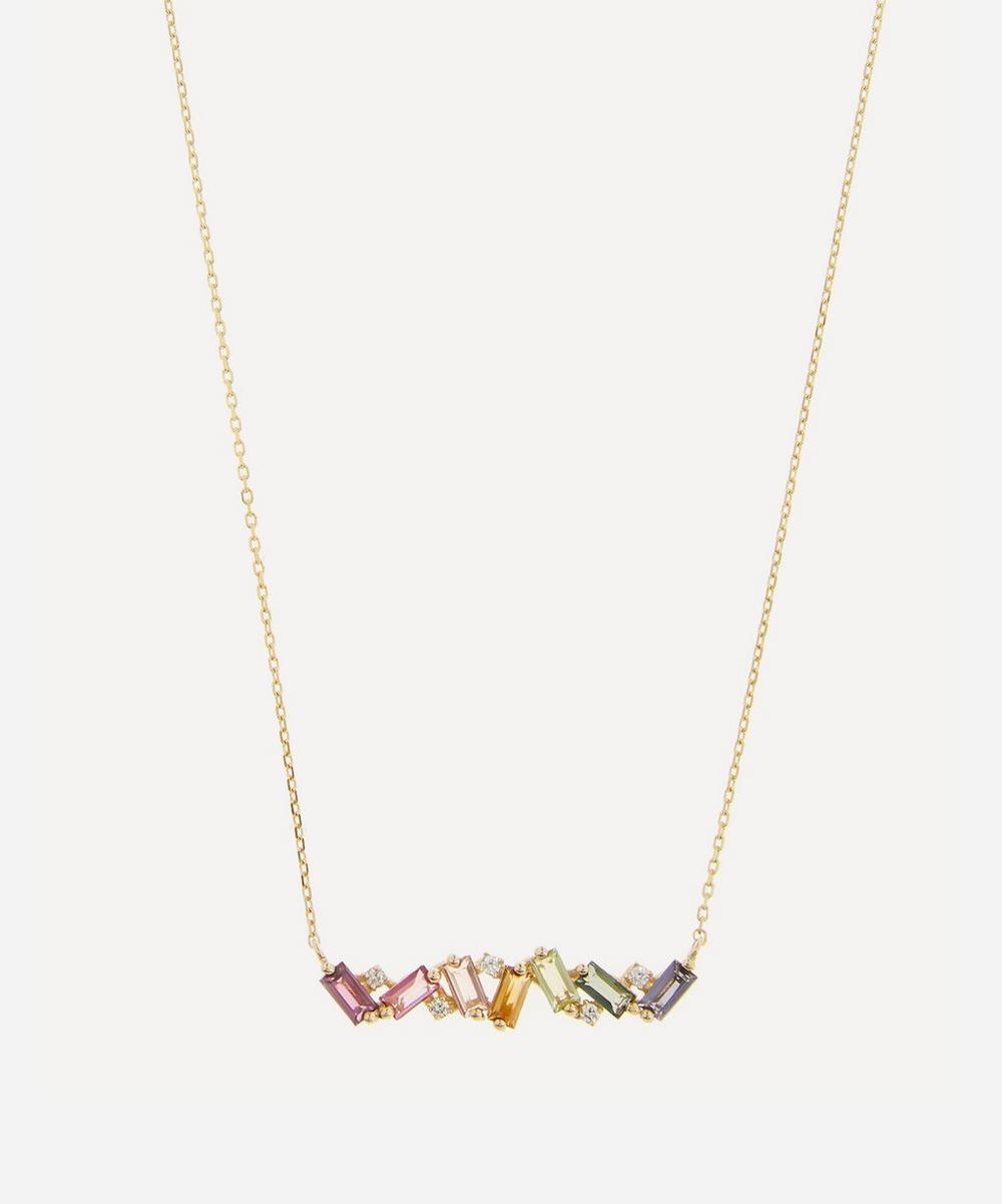 Suzanne Kalan - Gold Multi-Stone Rainbow Baguette Bar Pendant Necklace