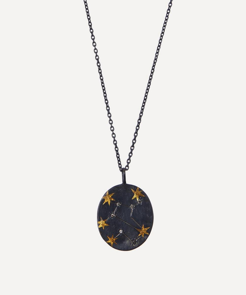 Acanthus - Oxidised Silver Virgo Diamond Constellation Pendant Necklace