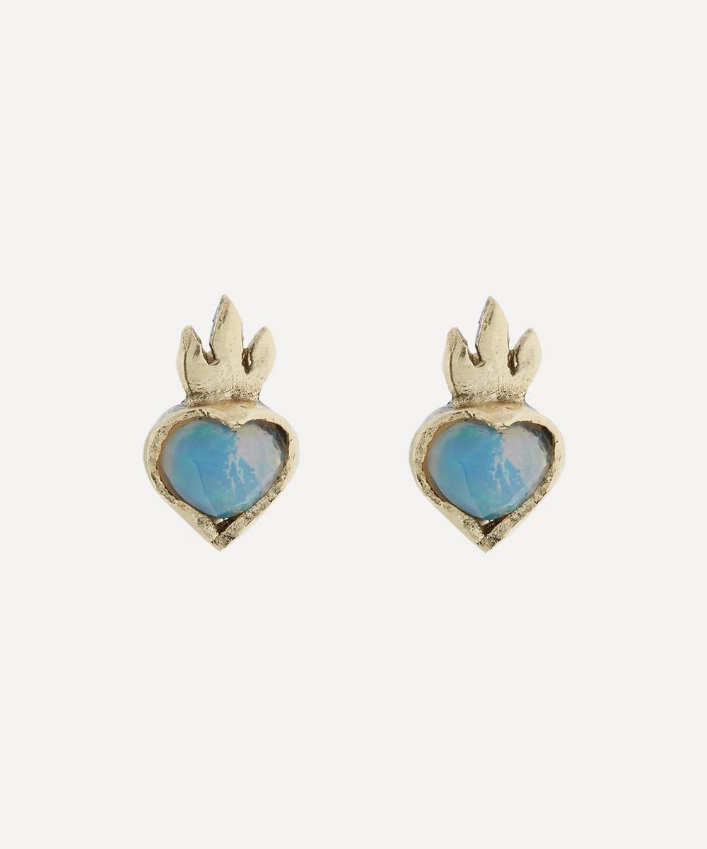 Acanthus - Gold Opal Sacred Heart Stud Earrings