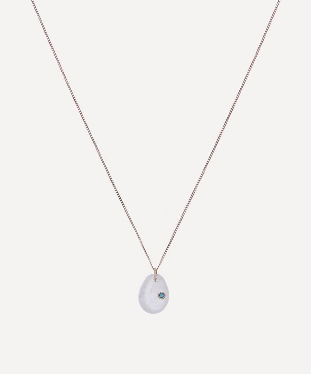 Pascale Monvoisin - Rose Gold Cauri N°2 Moonstone and Turquoise Pendant Necklace