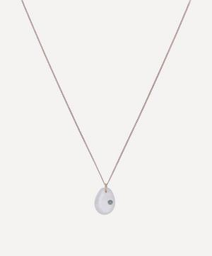 Rose Gold Cauri N°2 Moonstone and Turquoise Pendant Necklace